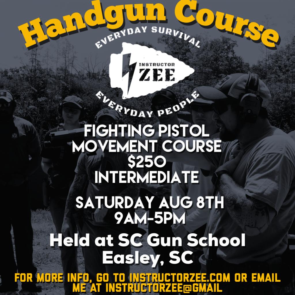 instructor zee South Carolina gun handgun pistol training class course tactical defensive Easley fighting