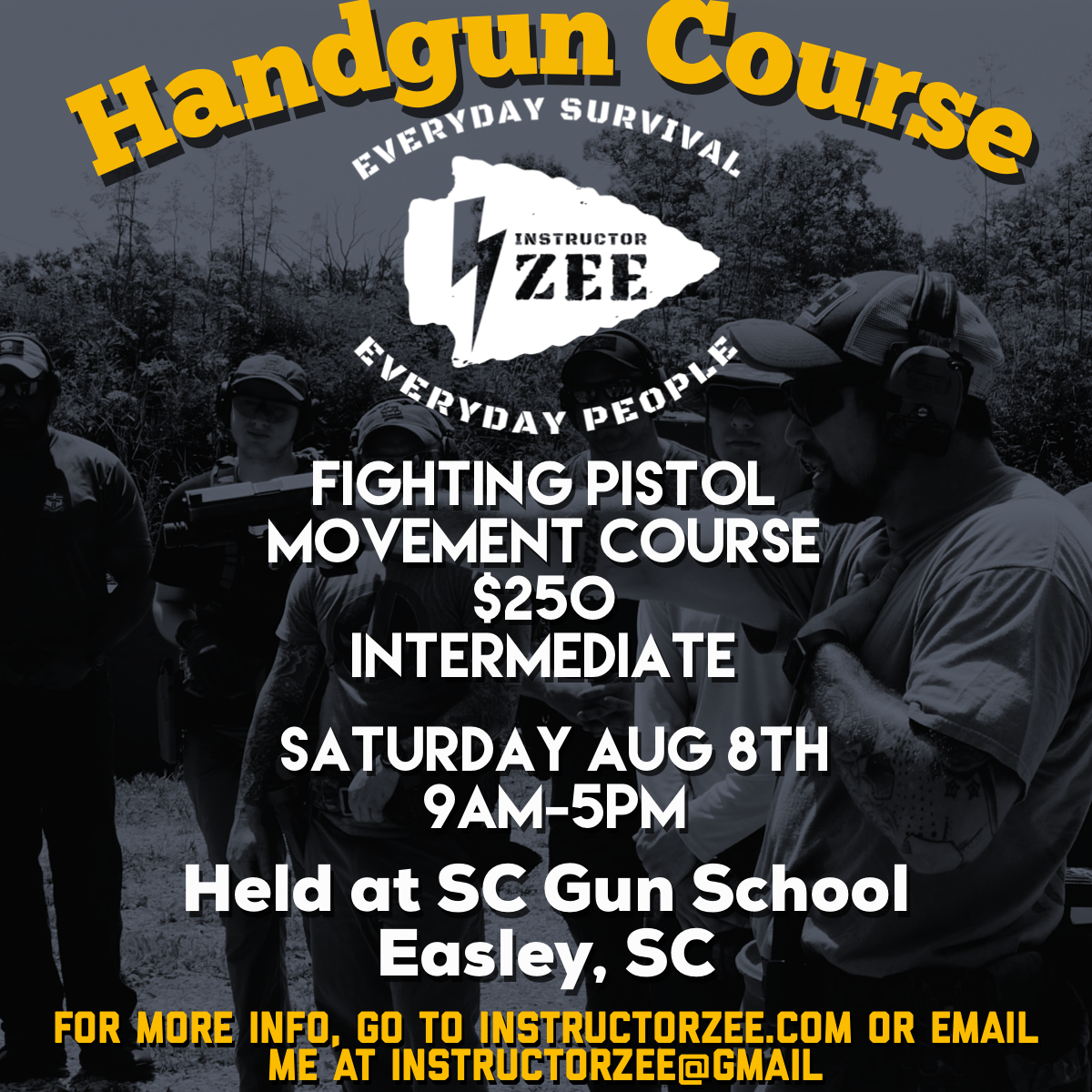 instructor zee South Carolina gun handgun pistol training class course tactical defensive Easley fighting
